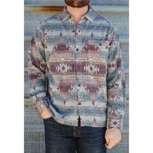 True Grit Navajo Melange Blanket Pocket Big Shirt